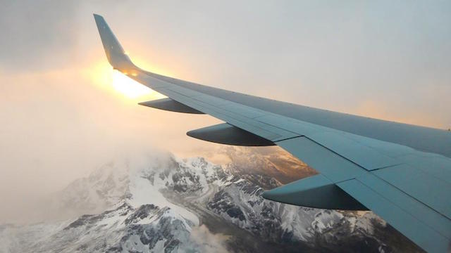 Plane over mountains